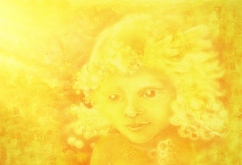 drawing of little golden light angel face on abstract background