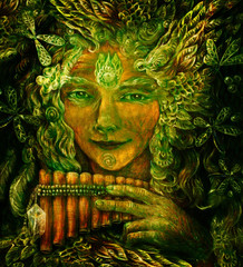 forest fairy shaman with panflute and crystal, detailed colorful illustration