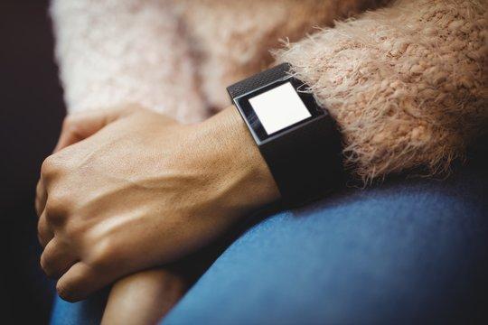 Woman wearing smart watch