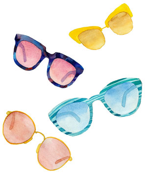 A set of watercolor sunglasses on white background.