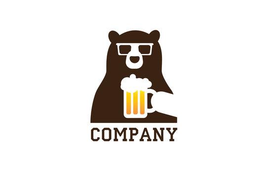 Bear beer hipster glasses flat logo