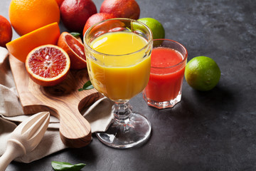 Fresh citruses and juice