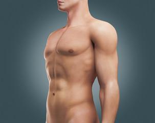 Petto di uomo con muscoli e addominali