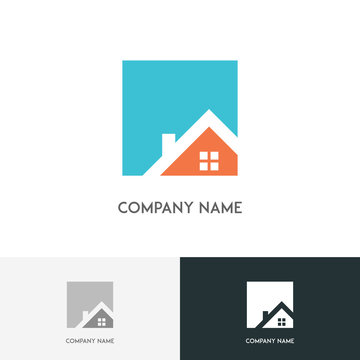 Real estate logo - house or home with window and chimney on the roof on the white background