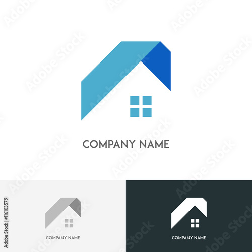 Real estate logo house or home with window and roof on for Buy new construction windows online