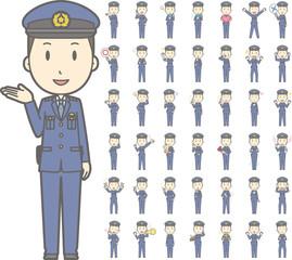 警察官の若い男性vol.1(案内・指差し・笑顔など, 様々な表情やポーズのイラストをセット)