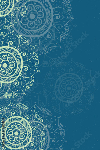 Ethnic invitation card blue background with lace beige ornament
