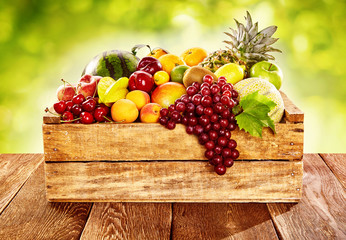 Wooden crate filled with fresh healthy fruit