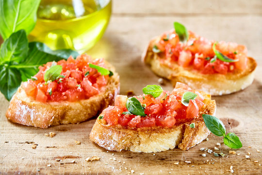Tasty savory tomato Italian appetizers