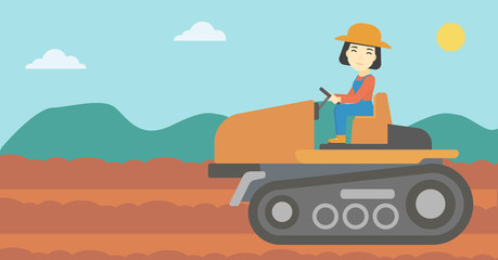 Female farmer driving tractor vector illustration.