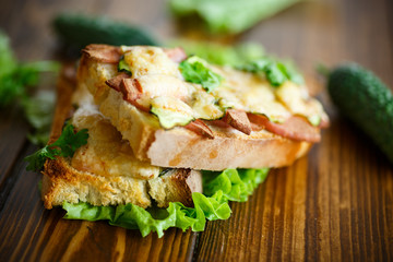 toast baked with sausage, cheese and cucumber