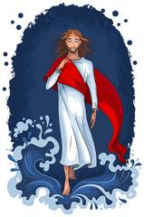 Bible story of Jesus walking on water. Christian illustration