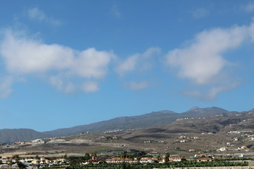 Mountain landscape, Tenerife, Canary islands, blue sunny sky