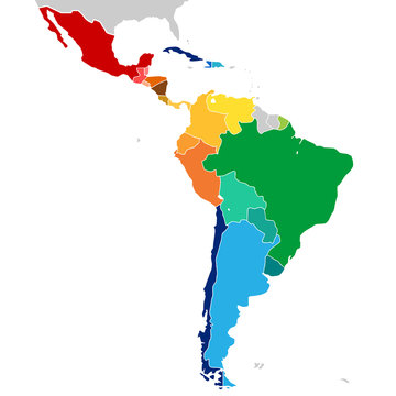 Colorful countries of Latin America. Simplified vector map.