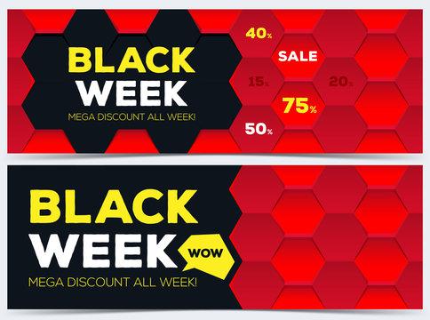 Black week sale. Black week banner. Sale banner. Sale. Mega discount banners. New offer. Vector illustration.