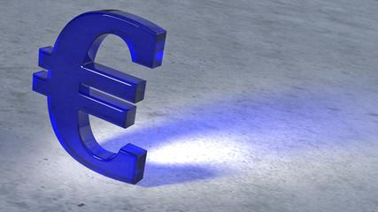 Eurozeichen aus Glas