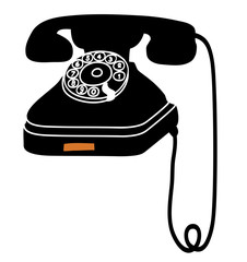 Retro style phone. Vector illustration of a black vintage phone.