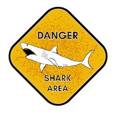 Warning shark attack danger of sharks yellow sign vector