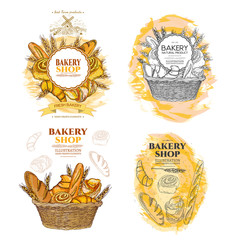 Bakery bread and rolls in wicker basket collection