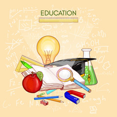 Education back to school student objects open book vector
