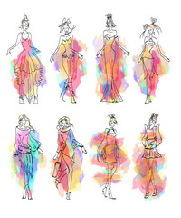 Fashion Model collection hand drawn vector