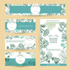 Herbal medicine cosmetics based on natural herbs template vector