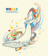 Whale dives into the water whale art hand drawn vector