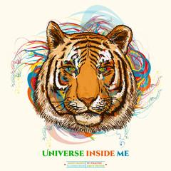 Tiger realistic portrait universe inside me tiger art poster