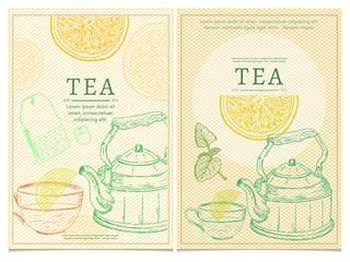 Tea party template tea vector