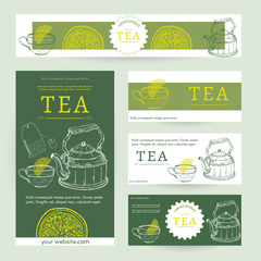 Tea party template tea blank for design vector