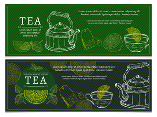 Tea banners lemon kettle tea party ceremony