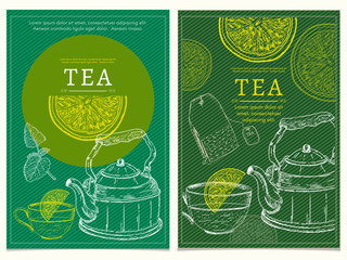 Tea party banners hand drawn vector illustration