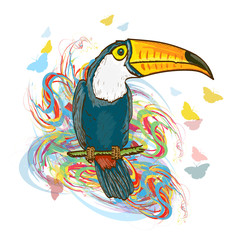 Toucan sitting on branch. Exotic tropical bird jungle