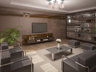 Stylish modern living room with trendy furniture.