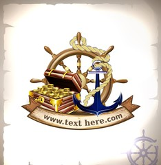 The icon of most useful marine symbols grouped with banner for your text.