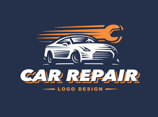 Logo car repair on dark background