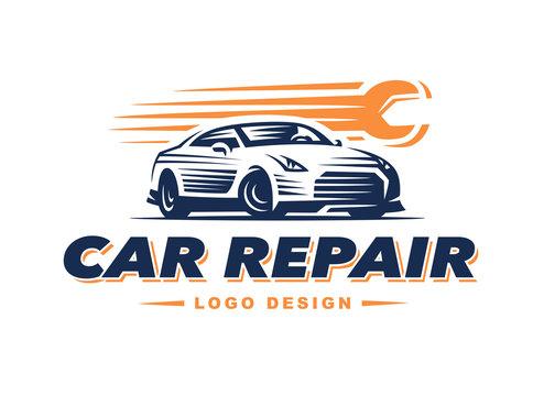 Logo car repair on light background