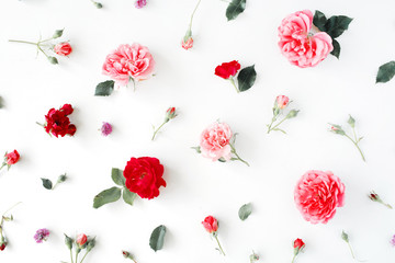 Roses and green leaves on white background. Flat lay, top view