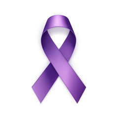 Vector Purple Breast Cancer Ribbon Isolated on White Background