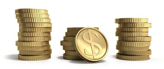 gold coins in stacks with dollar sign 3d illustration on a white