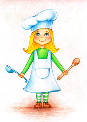 Hands drawn picture of  little cook with spoon and bailer by the color pencils