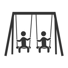 Kid playing with park game isolated flat icon, vector illustration design.