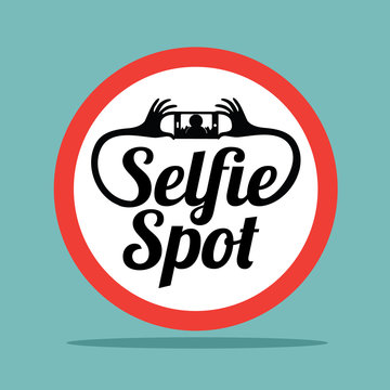 Selfie spot sign. A place to take your self portrait. EPS 10 vector.