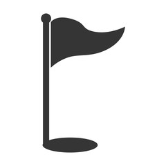 Golf sport flag hole isolated flat icon, vector illustration.