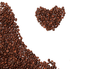 coffee beans heart isolated on white background border corner a place for the advertising text