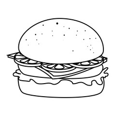 Delicious hamburger fast food isolated flat icon, vector illustration.