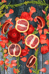 Blood Oranges flowers background old wooden style flat top view