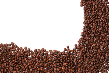 coffee beans isolated on white background border corner a place for the advertising text