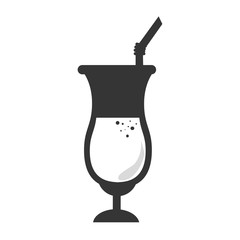 Drink glass cup in black and white colors, isolated flat icon.