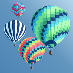 Set of  colorful hot air balloons on a blue background view from below